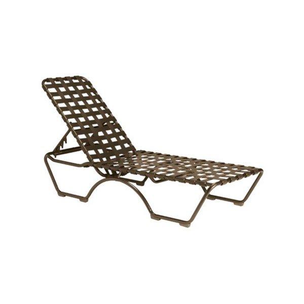Kahana crossweave vinyl strap chaise lounge with aluminum for Aluminum strap chaise lounge