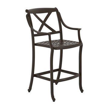 "BelMar Cast Aluminum Framed Bar Stool - Neo-Classic ""X"" Back - 14 lbs."