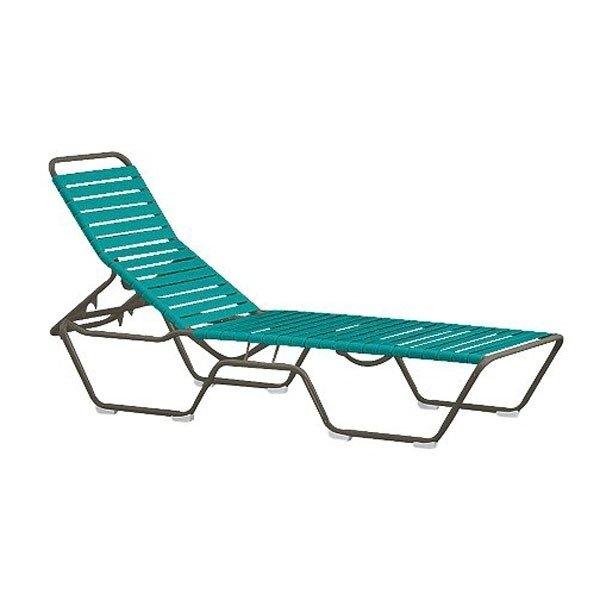 Tropi-Kai Vinyl Strap Chaise Lounge With Armless Aluminum Frame