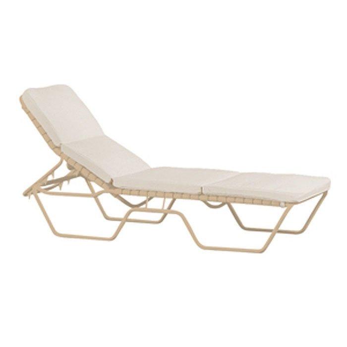 Tropi kai vinyl strap chaise lounge with armless aluminum for Aluminum frame chaise lounge