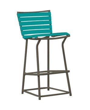 Tropi-Kai Vinyl Bar Stool With Armless Aluminum Frame