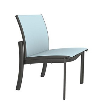KOR Relaxed Sling Dining Chair With Stackable Armless Aluminum Frame