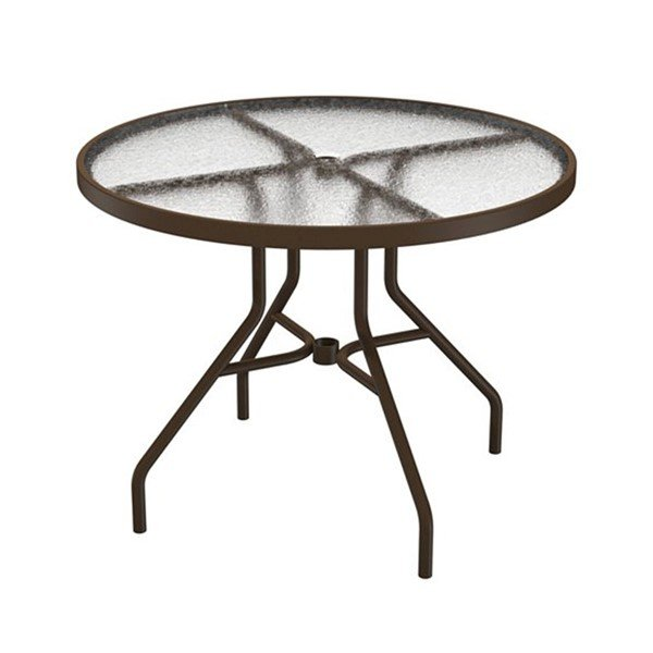 """Standard Base Frame 36"""" Acrylic Round Dining Table with Umbrella Hole by Tropitone - 29 lbs"""
