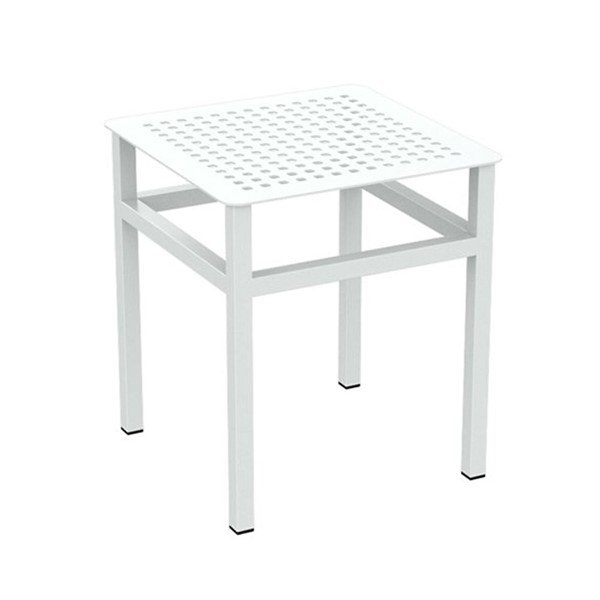 "Boulevard 16"" Square Punched Aluminum Tea Table with Powder-Coated Aluminum Frame by Tropitone"