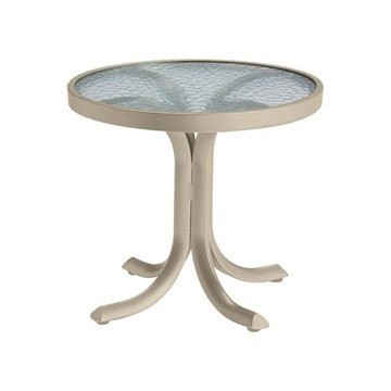 "20"" Acrylic Top Round Tea Table with Powder-Coated Aluminum Frame - 14 lbs."