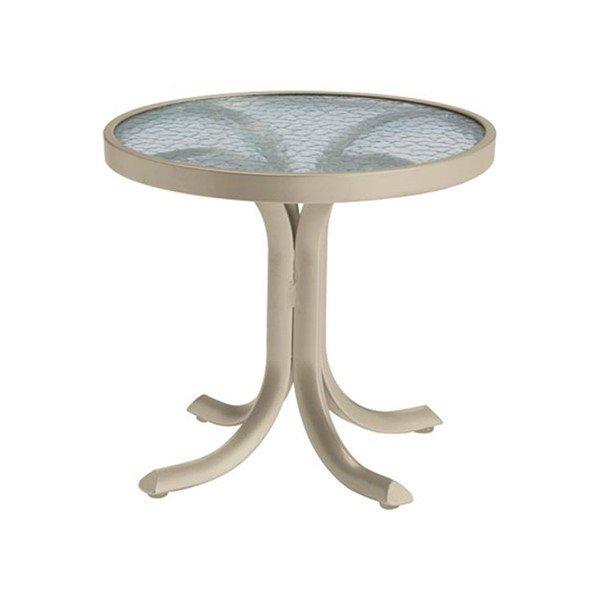 "20"" Acrylic Top Round Tea Table with Powder-Coated Aluminum Frame - 14 lbs."