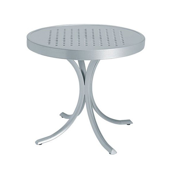 "20"" Boulevard Punched Aluminum Round Tea Table with Powder-Coated Aluminum Frame by Tropitone - 14 lbs."