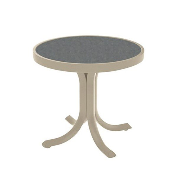 "20"" Round High Pressure Laminate Tea Table with Powder-Coated Aluminum Frame by Tropitone - 14 lbs."