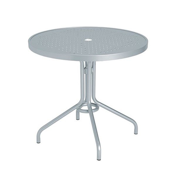 "Standard Base Design Boulevard 30"" Punched Aluminum Round Dining Table with Umbrella Hole by Tropitone"