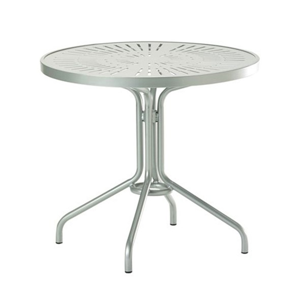 "30"" La'Stratta Punched Aluminum Top Round Dining Table with Powder-Coated Aluminum Frame by Tropitone - 15.5 lbs"