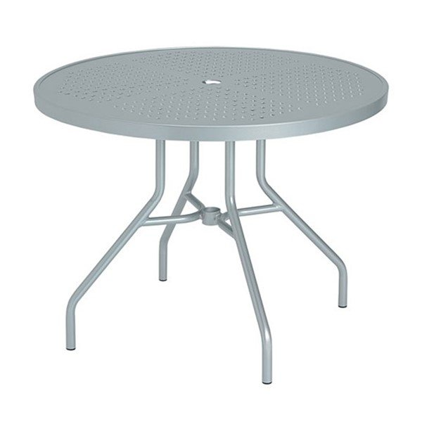 "Standard Frame Base 36"" Boulevard Punched Aluminum Round Dining Table with Umbrella Hole by Tropitone - 28 lbs."