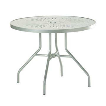 "Standard Base Frame 36"" La'Stratta Punched Aluminum Round Dining Table with Umbrella Hole by Tropitone - 28 lbs."