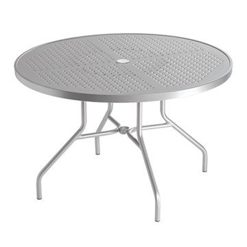 "Standard Base Frame 42"" Boulevard Punched Aluminum Round Dining Table with Umbrella Hole by Tropitone - 48 lbs."