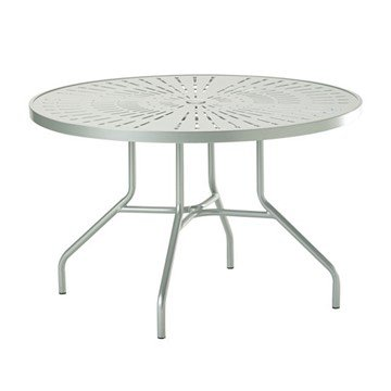 "Standard Base Frame 42"" La'Stratta Punched Aluminum Round Dining Table with Umbrella Hole by Tropitone - 48 lbs."