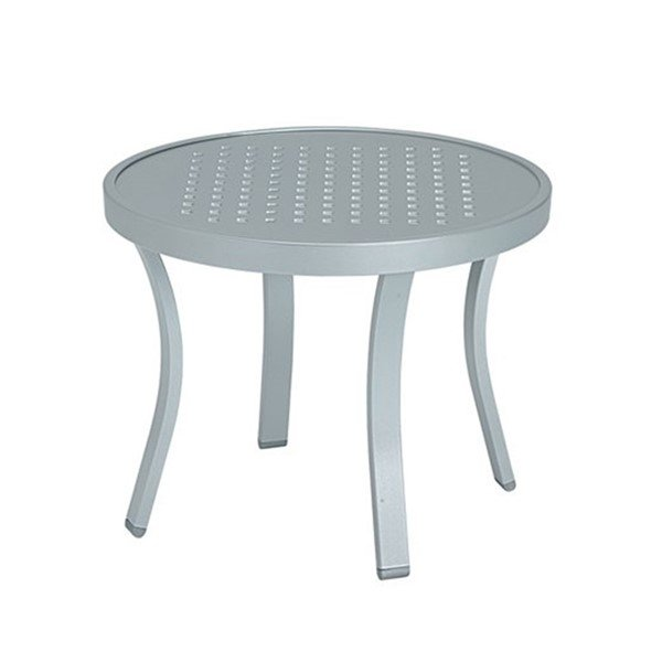 "20"" Round Boulevard Punch Aluminum Tea Table with Powder-Coated Aluminum Frame by Tropitone - 11 lbs."