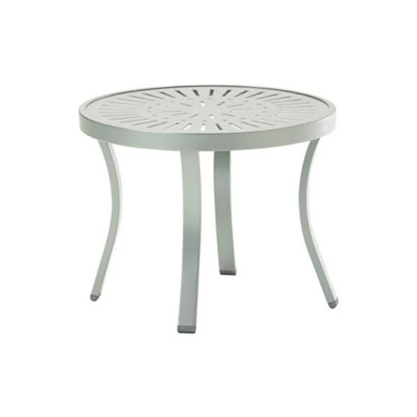 "20"" Round La'Stratta Punch Aluminum Tea Table with Powder-Coated Aluminum Frame by Tropitone - 11 lbs."