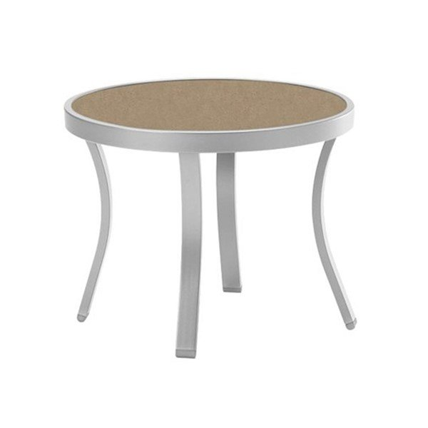 "20"" Round High Pressure Laminate Tea Table with Powder-Coated Aluminum Frame by Tropitone - 10 lbs."