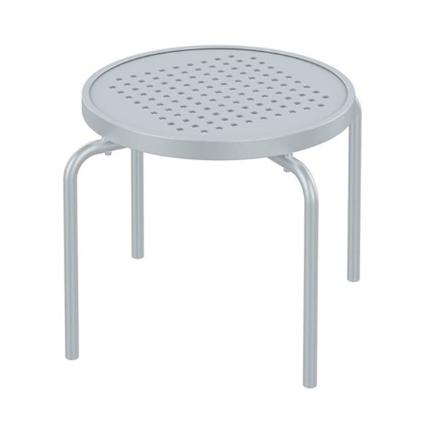 "20"" Round Boulevard Punched Aluminum Stacking Tea Table with Powder-Coated Aluminum Frame by Tropitone - 8 lbs."