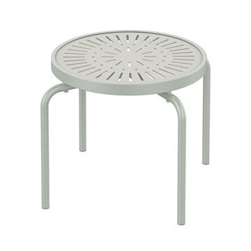 "20"" Round La'Stratta Punched Aluminum Stacking Tea Table with Powder-Coated Aluminum Frame by Tropitone - 8 lbs."