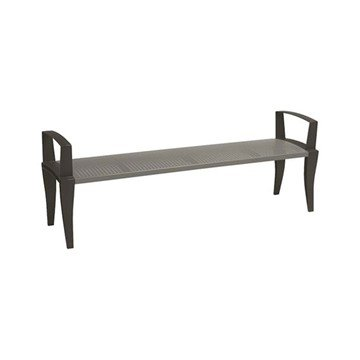 District 6' Square Pattern Arm Bench with Powder-Coated Aluminum Frame by Tropitone - 101 lbs.