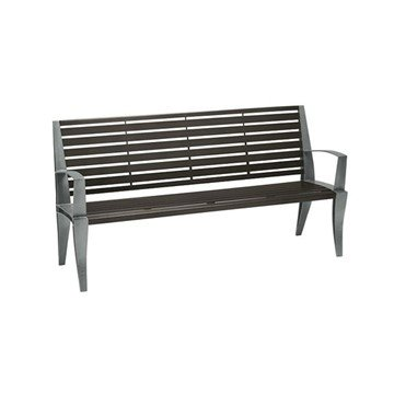 6' District Style Slat Back and Arm Bench with Powder-Coated Aluminum Frame - 153 lbs.