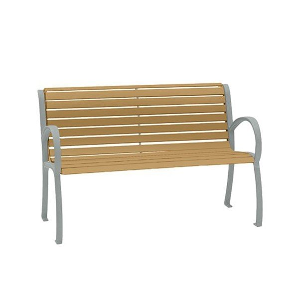 4' District Style Slat Back and Arm Bench with Powder-Coated Aluminum Frame - 75 lbs.