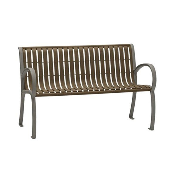 4' District Style Arm Bench with Powder-Coated Aluminum Frame and Slats - 121 lbs.