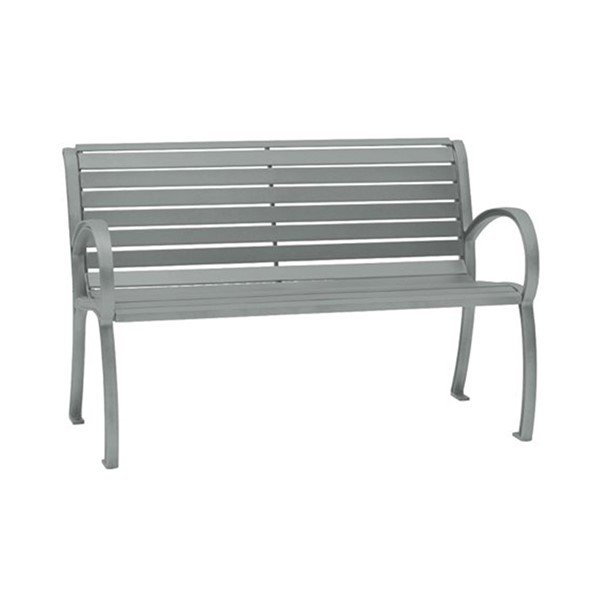 4' District Style Arm Bench with Powder-Coated Aluminum Frame and Slats - 75 lbs.