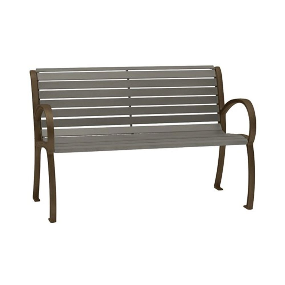 4 ft district style arm bench with powder coated aluminum frame and horizontal slats Aluminum benches
