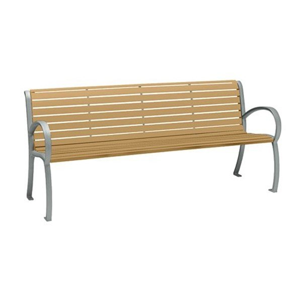 6' District Style Arm Bench with Powder-Coated Aluminum Frame and Faux Wood Slats - 92 lbs.