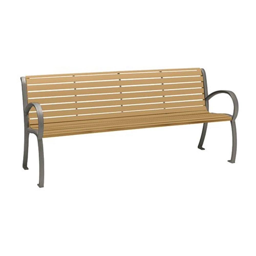 6 Ft District Style Arm Bench With Powder Coated Aluminum