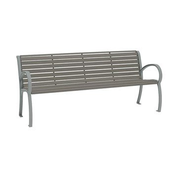 6' District Style Arm Bench with Powder-Coated Aluminum Frame and Horizontal Slats - 92 lbs.