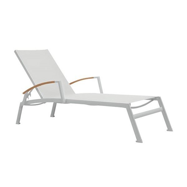 Sono sling armless chaise lounge with powder coated for Aluminum frame chaise lounge