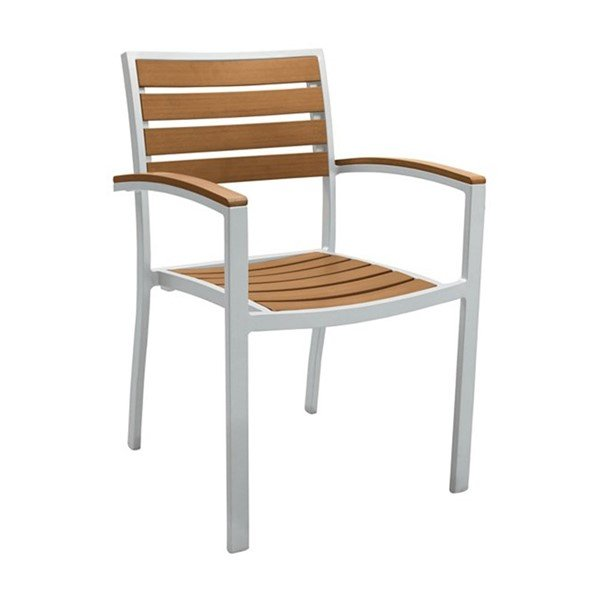 Jado Faux Wood Slat Dining Chair with Powder-Coated Aluminum Frame by Tropitone - 12 lbs.