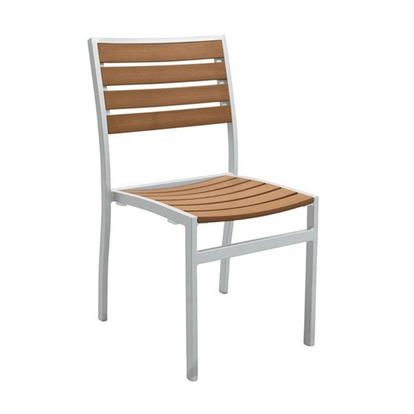 Jado Faux Wood Slat Side Chair with Powder-Coated Aluminum Frame by Tropitone - 10.5 lbs.