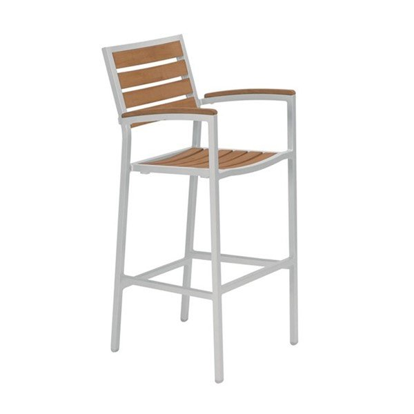 Jado Faux Wood Slat Bar Stool with Powder-Coated Aluminum Frame by Tropitone - 12 lbs.