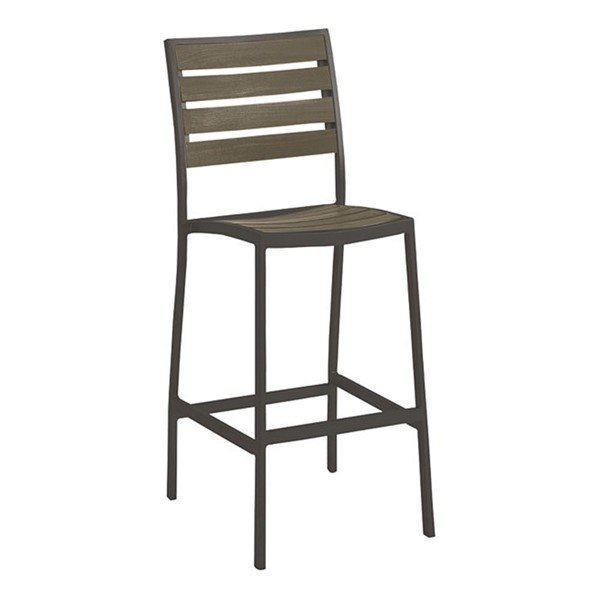Jado Faux Wood Slat Armless Bar Stool With Powder-Coated Aluminum Frame by Tropitone - 14.5 lbs.