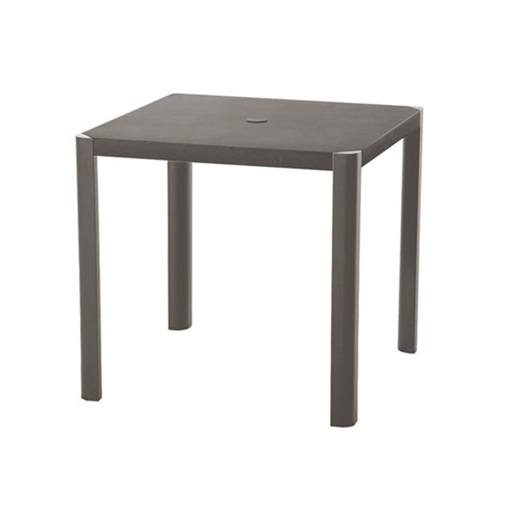 Square Umbrella Dining Table With Cast Aluminum Frame By - Aluminum dining table