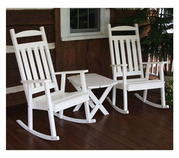 Two Classic Recycled Plastic Rocking Chair with Folding Side Table Set