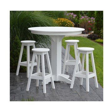 "44"" Round Recycled Plastic Bar Table Set With 4 Bar Stools"