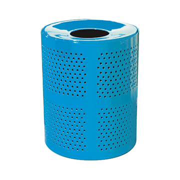 32 Gallon Perforated Style Thermoplastic Receptacle w/ Liner & Flat Top Lid