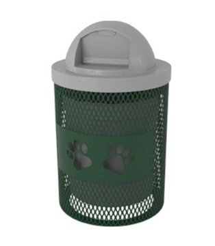 Dog Park 32 Gallon Expanded Metal Trash Receptacle with Laser Cut Paw Design - 70 lbs.