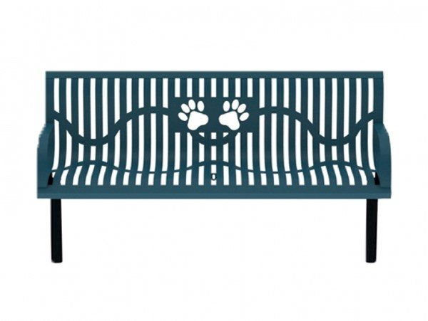6 Ft. Thermoplastic Wingline Contoured Dog Park Bench with Laser Cut Bone Design - 146 Lbs.