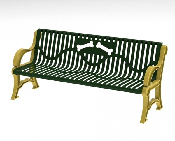 6 Ft. Theromoplastic Classic Style Dog Park Bench with Laser Cut Bone Design