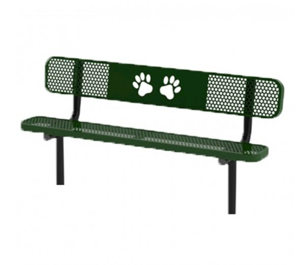 6 Ft. Ultra Leisure Perforated Dog Park Polyethylene Coated Steel Stationary Bench With Laser Cut Paws Design