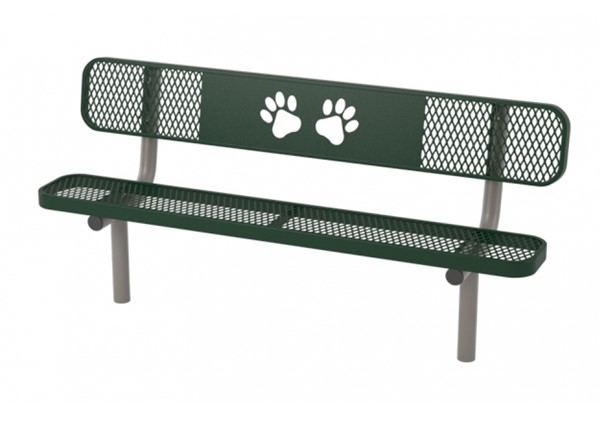 6 Ft. Ultra Leisure Style Polyethylene Coated Metal Dog Park Stationary Bench with Laser Cut Bone Design