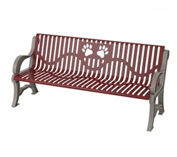 6 Ft. Thermoplastic Classic Style Dog Park Bench with Paws Design