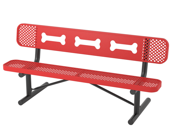 6 Ft. Ultra Leisure Perforated  Dog Park Polyethylene Coated Steel Stationary Bench with Laser Cut Bones Design