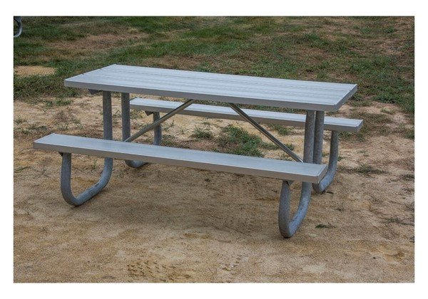 12 Ft. Aluminum Picnic Table With Galvanized Welded Frame