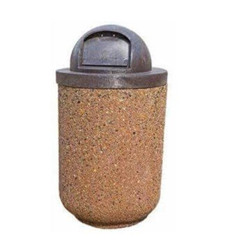30 Gallon Concrete Round Trash Receptacle With Dome Lid